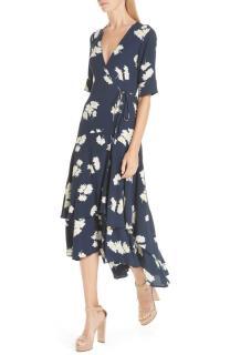 Ganni Silvery Floral-Print Wrap Dress