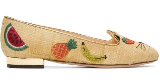 Charlotte Olympia Kitty Embroidered Raffia Flat Pumps