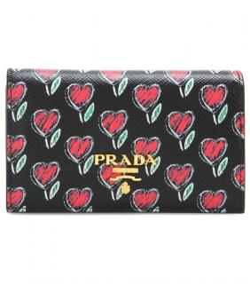 Prada floral heart zip around wallet purse