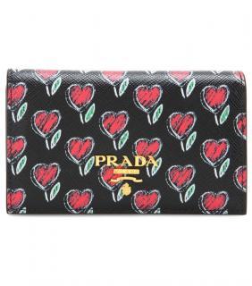 Prada floral heart zip around wallet purse