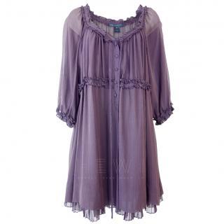 Marc by Marc Jacobs Ruffle-Trimmed Purple Chiffon Dress