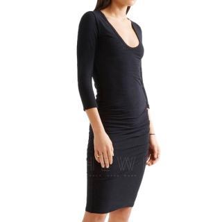 James Perse Dark-Grey Ruched Jersey Dress