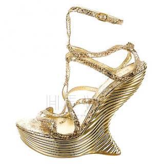 Alexander McQueen Runway Curved-Heel Gold Platform Sandals