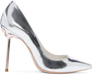 Sophia Webster Coco Flamingo Silver Leather Pumps