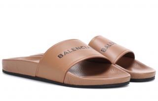 Balenciaga Logo-Debossed Brown Leather Slides
