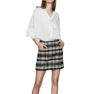 Maje Plaid Wool Mini Skirt