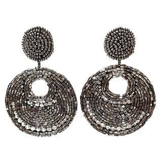 Kenneth Jay Lane Beaded Hoop-Drop Earrings