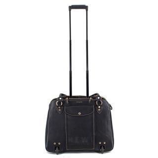 Aspinal of London Black Leather & Calf Hair Cabin Bag