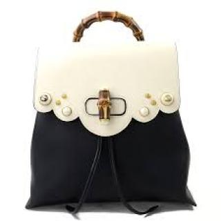 Gucci Bamboo Limited Edition Black & White Leather Backpack
