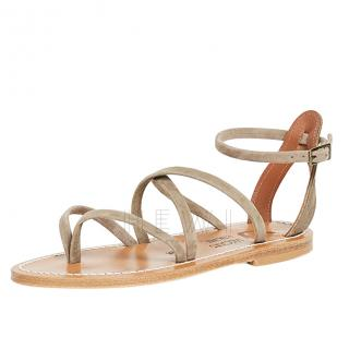 K Jacques Epicure Beige Leather Sandals