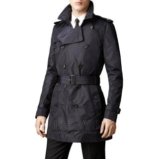 Burberry Navy Belted Trench Coat