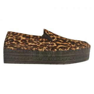 Prada Leopard-Print Calf Hair Flatform Espadrilles