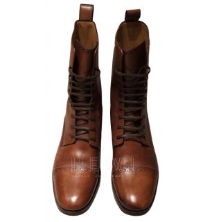 Christian Louboutin Brown Leather Lace-Up Ankle Boots