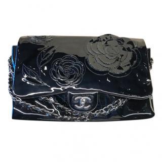 Chanel Floral-Applique Patent Leather Bag