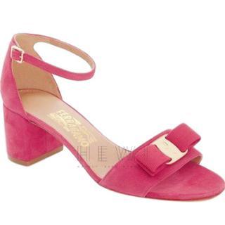 Salvatore Ferragamo Gavina Fuchsia-Pink Suede Sandals