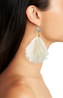 Tory Burch Pearl & Feather-Tassel Earrings - Current Season