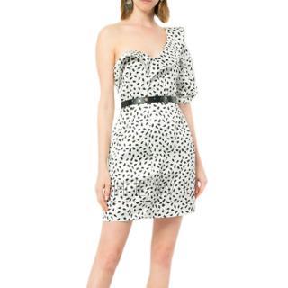 Self-Portrait Abstract Dot-Print One-Shoulder Satin Mini Dress