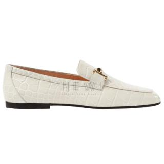 Tod's White Crocodile-Effect Leather Loafers