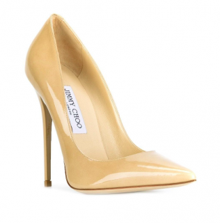 Jimmy Choo Anouk 120 Beige Patent Leather Pumps