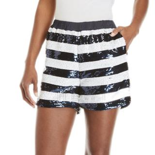 Sandro Navy & White Striped Sequin Shorts