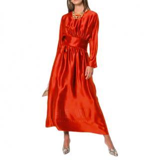 Deitas Hermine Gathered Satin Maxi Dress