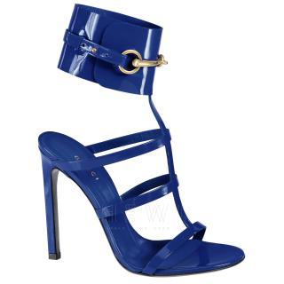Gucci Blue Patent Leather Horsebit Sandals