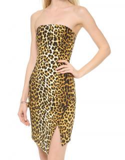 Nicholas Strapless Leopard-Print Dress