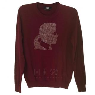 Karl Lagerfeld Karl-Head Burgundy Sweater