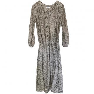 Zimmermann Grey Python-Print Chiffon Dress