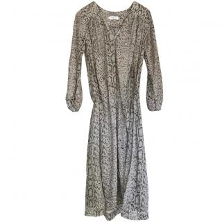 Zimmermann Grey Python-Print Chiffon Dress