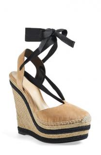 Gucci Suede Wrap-Around Espadrille Wedges