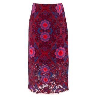 Sandro Red Geometric Lace Pencil Skirt