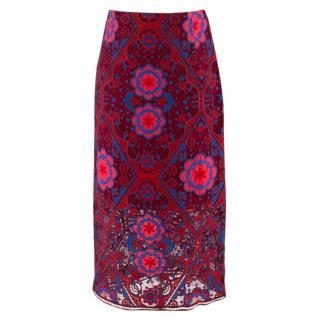 Sandro Red Geometric Lace Pencil Skirt