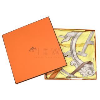 Hermes Attrape Tes Reves Light-Yellow Silk Scarf