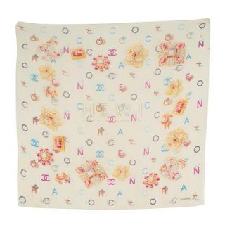 Chanel Letter-Print Silk Scarf