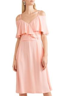 Paul & Joe Severiny Cold-Shoulder Pink Crepe de Chine Dress