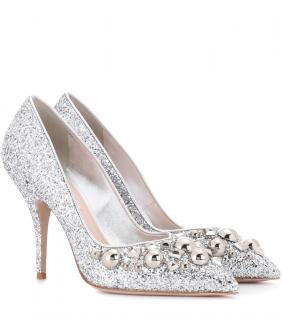Miu Miu Silver Glitter Studded Pumps
