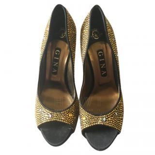 Gina Gold Crystal Peep-Toe Pumps