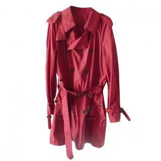 Aquascutum Red Belted Trench Coat