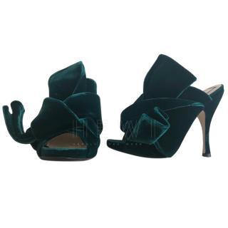 No.21 Green-Velvet Mules