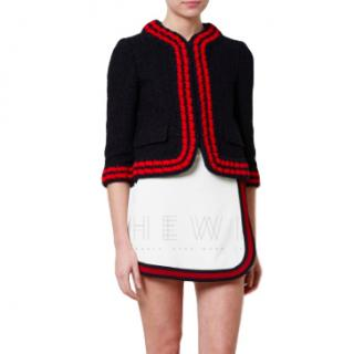 Gucci Tweed-Boucle Jacket With Red-Knit Trim
