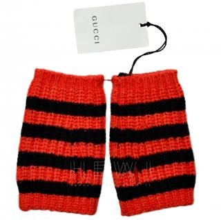 Gucci Red & Black Striped Knit Fingerless Gloves