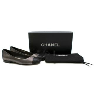 Chanel Coco Pewter & Black Flat Pumps