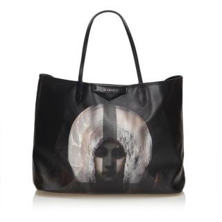 Black Coated Canvas Madonna Antigona Large Tote Bag