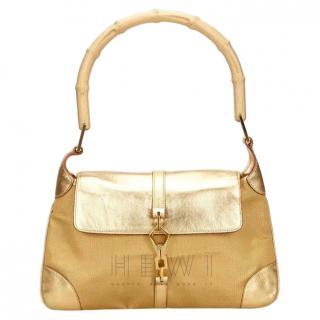 Gucci Gold Bamboo Shoulder Bag