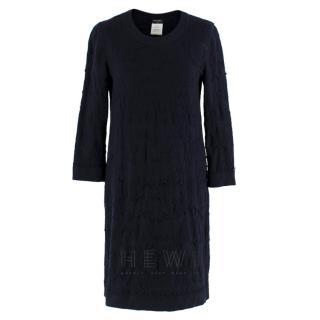 Chanel Textured Knit Navy Dress