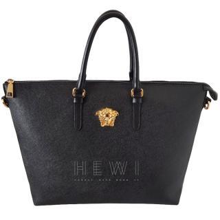 Versace Black Saffiano Leather Tote Bag