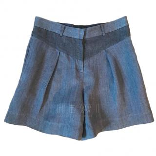 Atea Oceanie Pleated Chambray Shorts