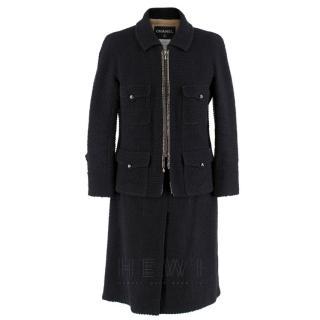 Chanel Black Tweed Zip Front Skirt Suit