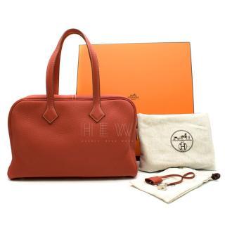 Hermes Brique Clemence Leather Victoria II Fourre-Tout 35 Bag